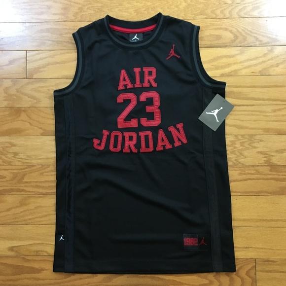 32957aac60c456 Authentic Air Jordan Basketball Jersey Black Red